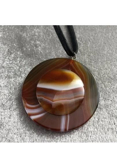 LARGE Disc Pendant in CARNELIAN AGATE Necklace Charm Jewel Chakra Zen A+-1