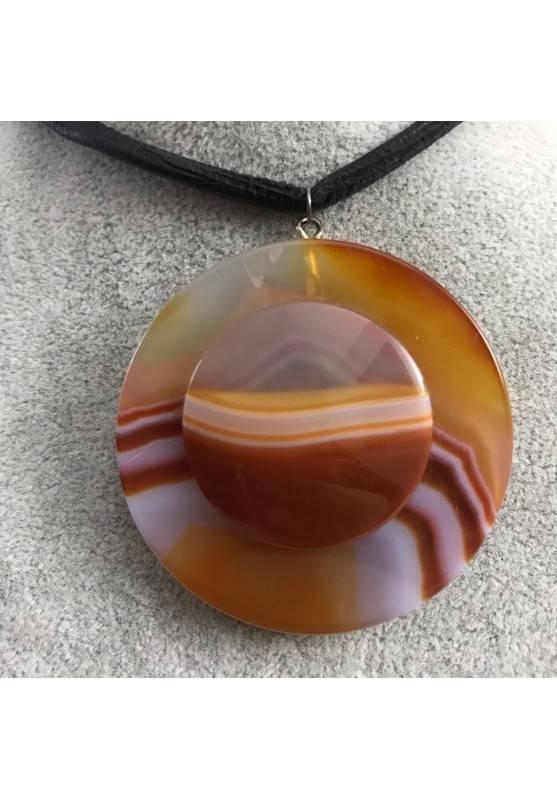 LARGE Disc Pendant in CARNELIAN AGATE Necklace Charm Jewel Chakra Zen A+-2