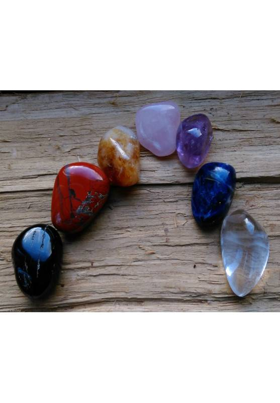 "Kit Crystal Healing Tumbled Stone MINI 7 Crystals "" Seven Chakra Stones ""-1"