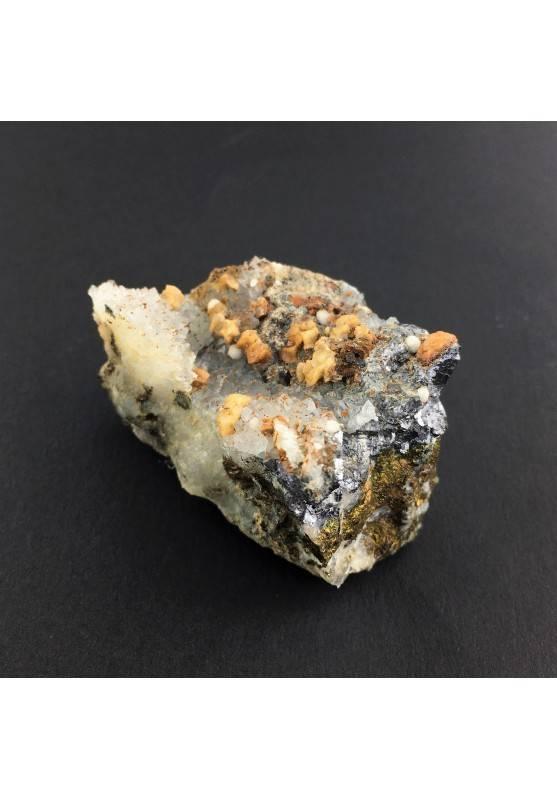 * Minerali Storici * Pietra Dolomite con Quarzo Galena calcopirite - Miniera Vignola-3