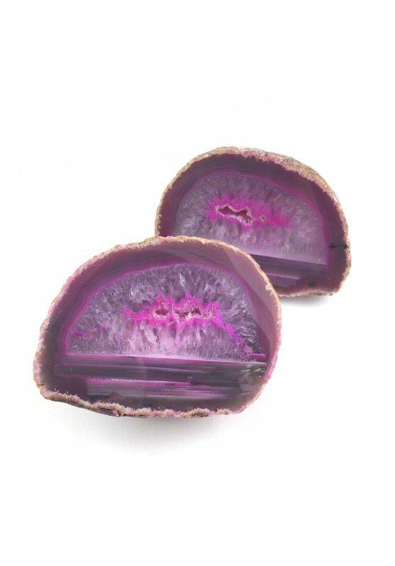 Pink AGATE GEODE Pair Couple Crystal Healing High Quality A+ Purification-1