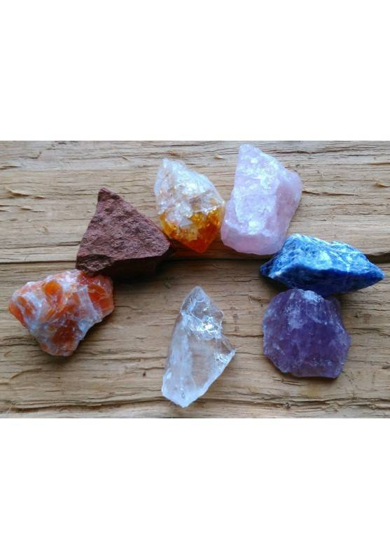 "Kit Crystal Healing 7 Crystals Rough"" Seven Chakra Stones Rough "" A+-1"