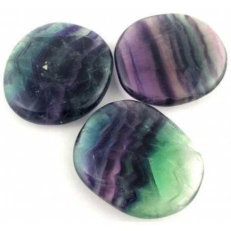 SAPONETTA in FLUORITE Viola - Verde Fluorite Palmstone Cristalloterapia Piastra-1