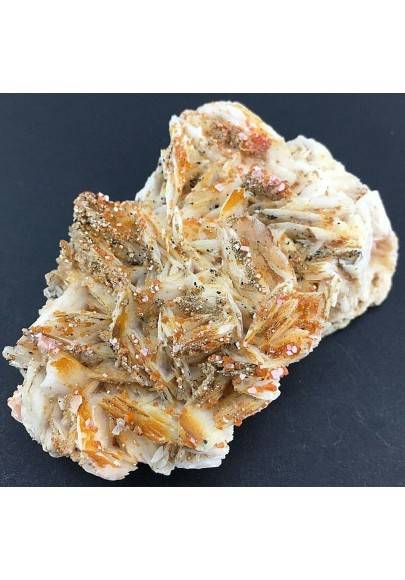 Lamellar BARITE on Matrix with Rough VANADINITE Crystals Specimen-1