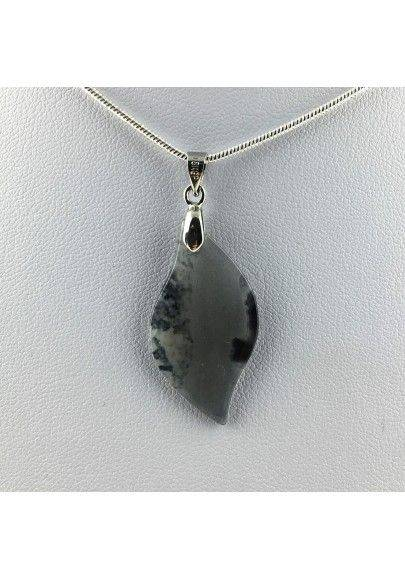 Fine Pendant Plate in AGATE on PLATINUM in Tumbled Necklace Healing A+-1