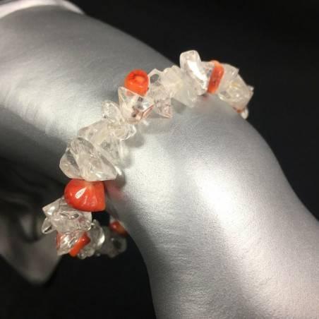 Bracciale Chips di QUARZO IALINO e CORALLO Braccialetto Cristalloterapia Zen A+-1