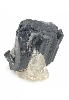 Raro Campione di TORMALINA NERA SCHORLITE con QUARZO Minerale Collezionismo-2