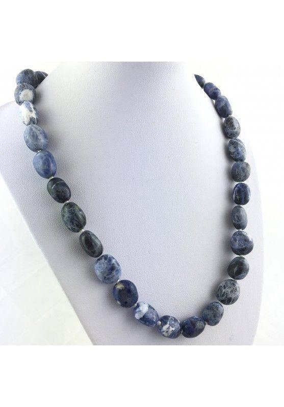 Collana Perle di Sodalite Burattato Ciondolo Cristalloterapia Gioiello Colore A+-1