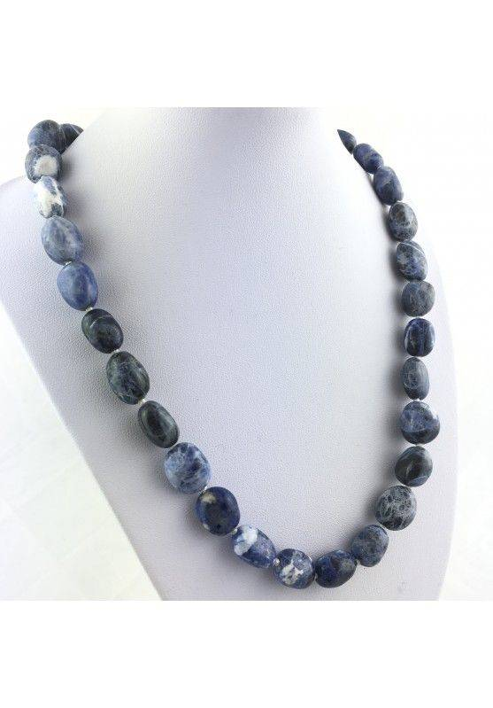 Necklace PEARL in Tumbled Stone SODALITE Pendant Crystal Healing Jewel Color A+-1