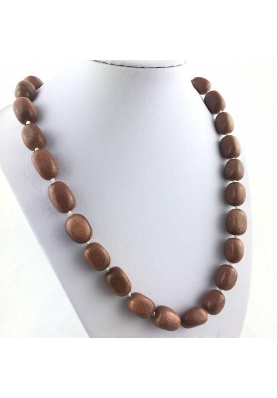 Collana Perle di Pietra del Sole Burattato Ciondolo Cristalloterapia Gioiello A+-2