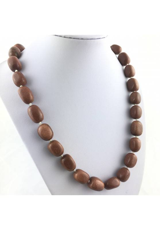 Necklace PEARL in SUN STONE Tumbled Stone Pendant Crystal Healing Jewel A+-2
