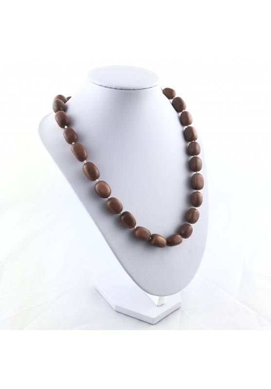 Necklace PEARL in SUN STONE Tumbled Stone Pendant Crystal Healing Jewel A+-3