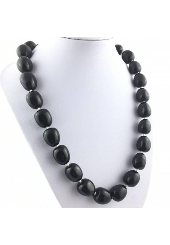 Collana Perle di Onice Burattato Ciondolo Cristalloterapia Chakra Gioiello Reiki-1