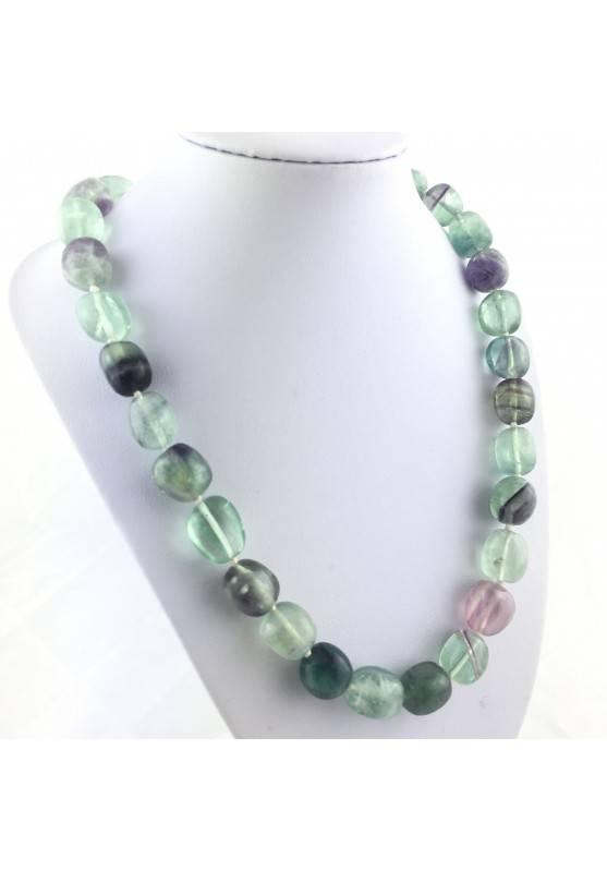 Collana Perle di Fluorite Ciondolo Cristalloterapia Chakra Gioiello Minerale A+-1