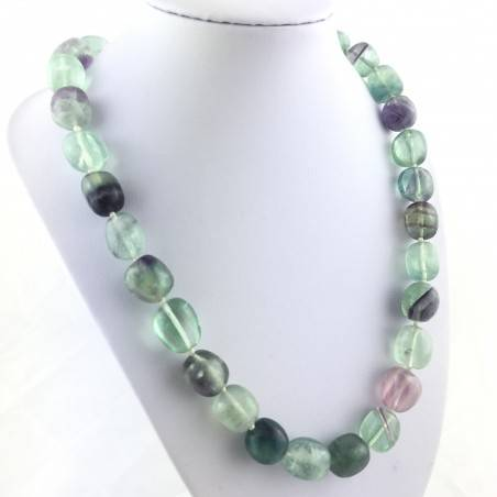 Necklace PEARL in Fluorite Pendant Crystal Healing Chakra Jewel MINERALS A+-1