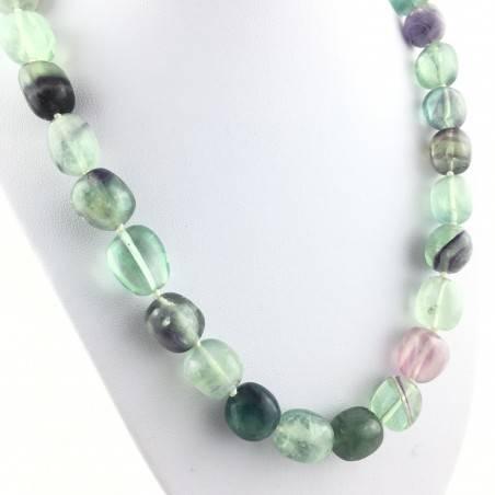 Collana Perle di Fluorite Ciondolo Cristalloterapia Chakra Gioiello Minerale A+-2