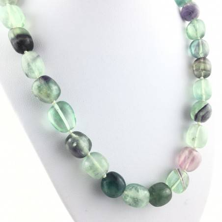 Necklace PEARL in Fluorite Pendant Crystal Healing Chakra Jewel MINERALS A+-2