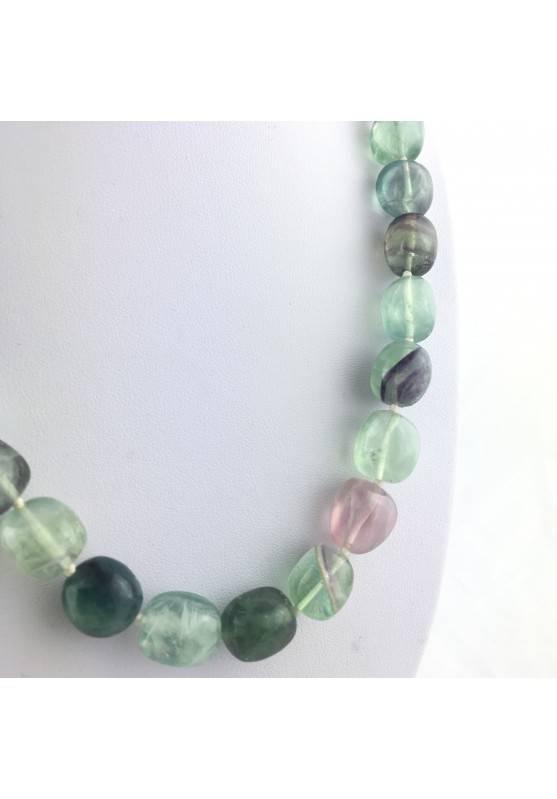 Collana Perle di Fluorite Ciondolo Cristalloterapia Chakra Gioiello Minerale A+-3
