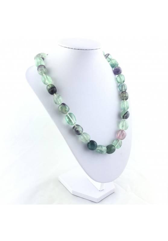 Collana Perle di Fluorite Ciondolo Cristalloterapia Chakra Gioiello Minerale A+-4