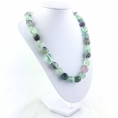 Necklace PEARL in Fluorite Pendant Crystal Healing Chakra Jewel MINERALS A+-4