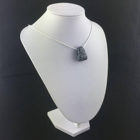 "Necklace "" Bead in Snow Obsidian "" Pendant Zen Gift Idea Crystal Healing Gemstone-2"