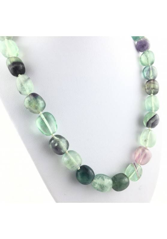 FLUORITE Necklace PEARL - CAPRICORN Tumbled Stone Zodiac Crystal Healing-2