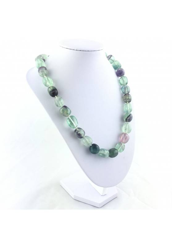 FLUORITE Necklace PEARL - CAPRICORN Tumbled Stone Zodiac Crystal Healing-3