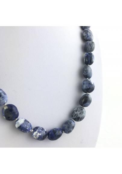 SODALITE Necklace PEARL - SAGITTARIUS MINERALS Crystal Healing Pendant Tumbled Stone-1