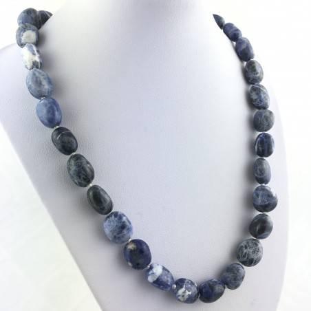 SODALITE Necklace PEARL - SAGITTARIUS MINERALS Crystal Healing Pendant Tumbled Stone-2