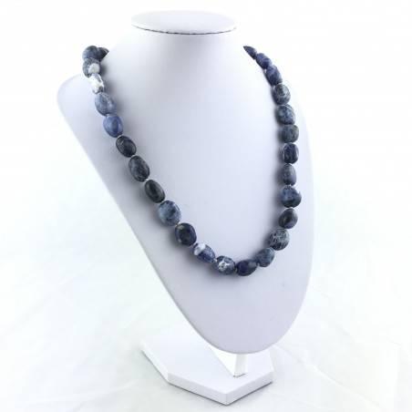 SODALITE Necklace PEARL - SAGITTARIUS MINERALS Crystal Healing Pendant Tumbled Stone-3