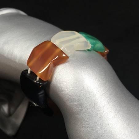 Bracciale in AGATA Nera , Bianca , Verde e CORNIOLA Braccialetto Agate Bracelet-2