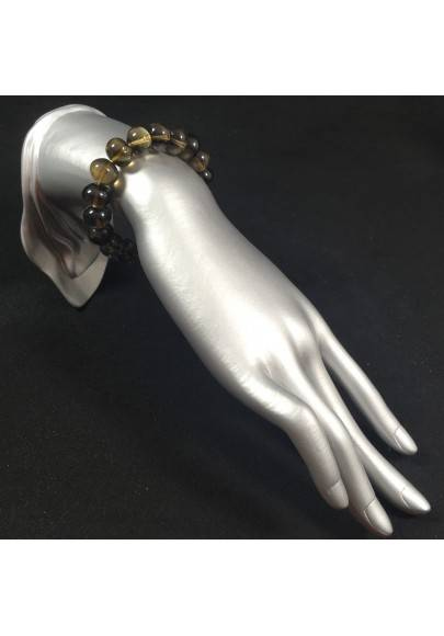 Bracelet in SMOKED QUARTZ Medium Size - Crystal Healing Chakra Reiki Zen A+-1