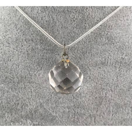 Pendant Faceted Sphere of Hyaline Quartz Jewel Necklace - AQUARIUS MINERALS-2