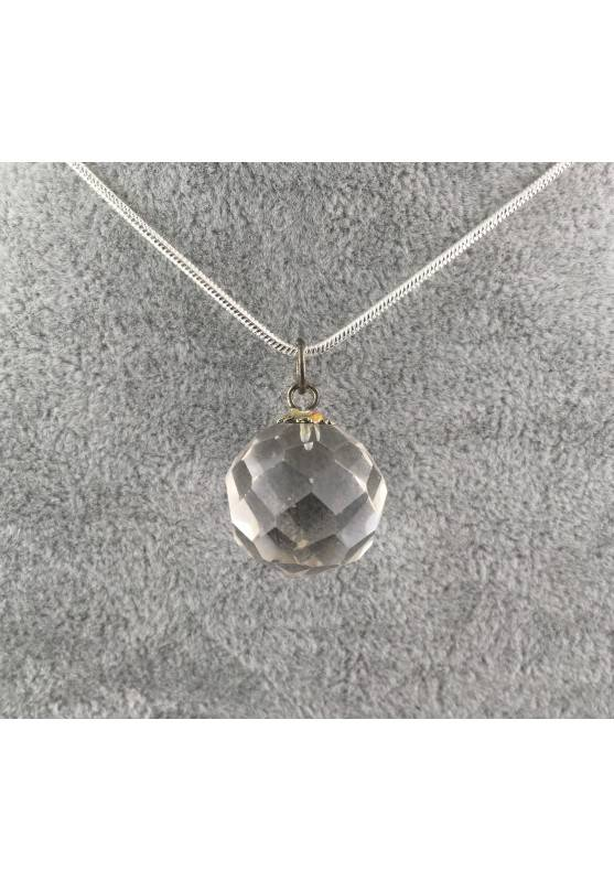 Pendant Special a Faceted Sphere of Hyaline Quartz Jewel Necklace Gift Idea-1