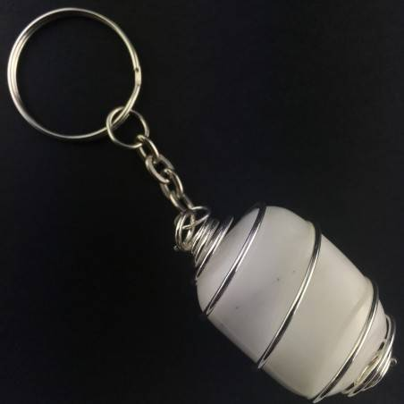 Portachiavi in AGATA BIANCA Montata Artigianalmente Spirale Placcata Argento A+-1
