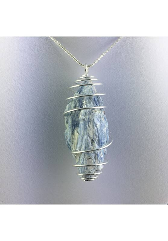 LARGE Pendant in KYANITE Hand Made on SILVER Plated Spiral Healing Chakra A+-1