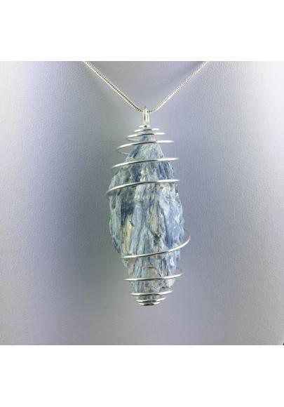 Ciondolo CIANITE GRANDE Montata Artigianalmente Spirale Placcato Argento A+-1