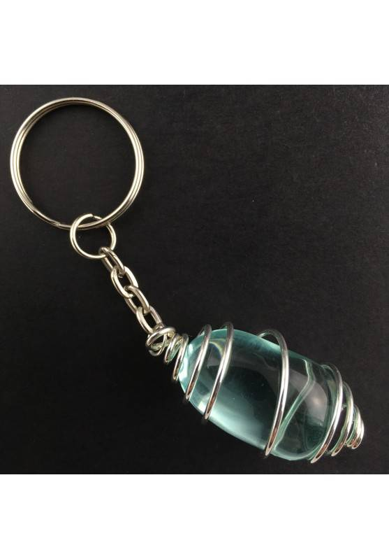 Aqua Blue OBSIDIAN Tumble Stone Keychain Keyring Hand Made on Silver Plated Spiral A+-1