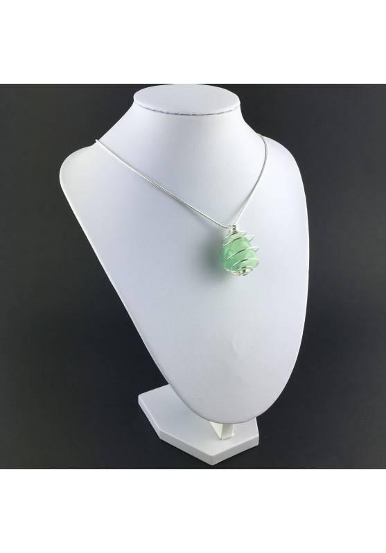 Green Fluorite Pendant - CAPRICORN Zodiac Silver Plated Spiral Necklace A+-2