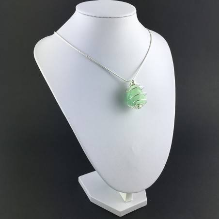 Green Fluorite Pendant Handmade Silver Plated Spiral Necklace-1