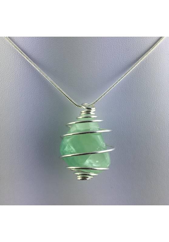 Green Fluorite Pendant Handmade Silver Plated Spiral Necklace-2