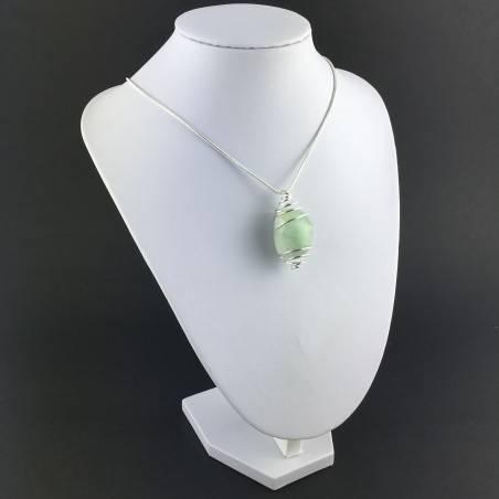 Green Fluorite Pendant - CAPRICORN Zodiac Silver Plated Spiral Necklace A+-4