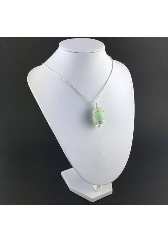 Green Fluorite Pendant Handmade Silver Plated Spiral Necklace-4