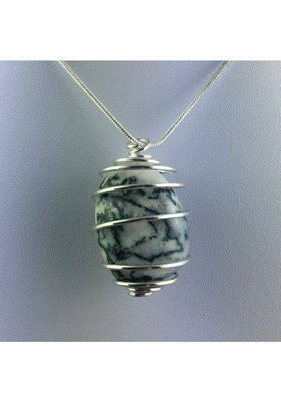 Dendritic Agate Pendant Hand Made on Silver Plated Spiral A+-1