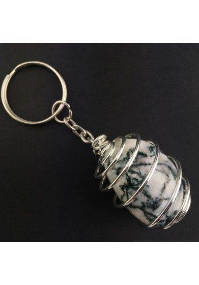 Dendritic Agate Keychain Keyring - VIRGO Zodiac Silver Plated Spiral Necklace-1