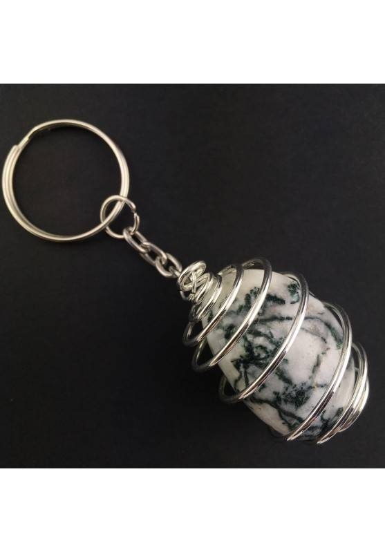 Dendritic Agate Keychain Keyring Hand Made on Silver Plated Spiral A+-1