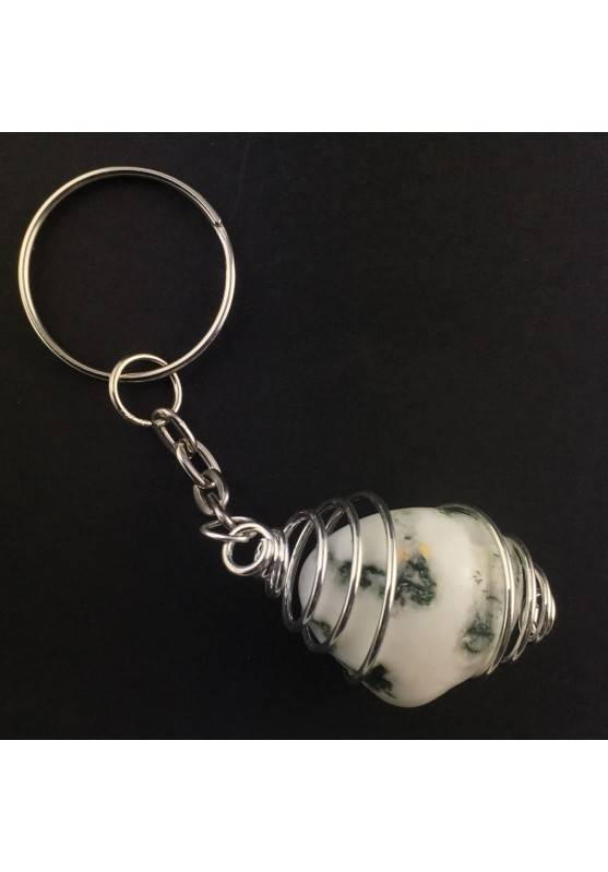 MOSS Agate Keychain Keyring Hand Made on Silver Plated Spiral A+-2