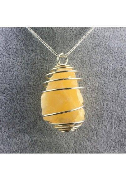 Yellow CALCITE Pendant Rough - VIRGO SAGITTARIUS Silver Plated Spiral A+-1
