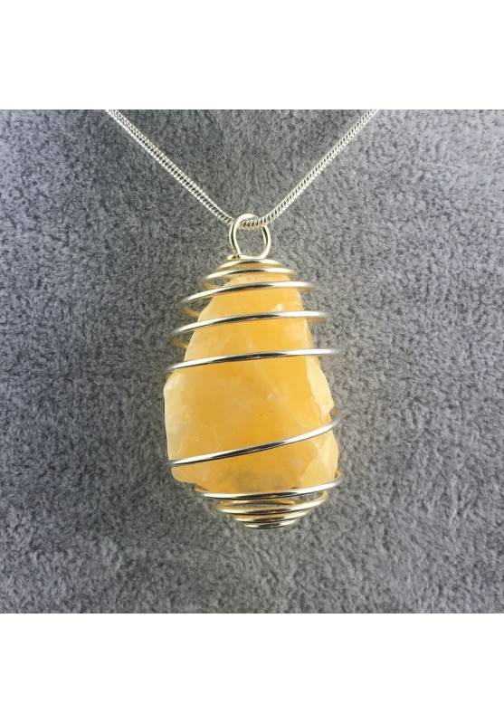 Yellow CALCITE Pendant Rough Hand Made on Silver Plated Spiral Natural Beads-1