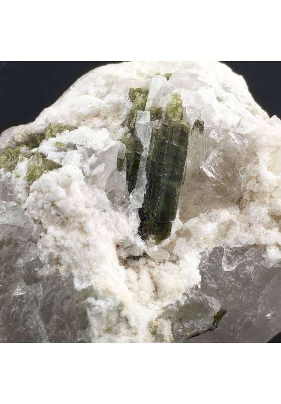 Berillo di TORMALINA VERDE Grezzo Su QUARZO Minerale Collezionismo Chakra A+-3